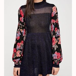 Free People Rose & Shine Metallic Sweater Dress